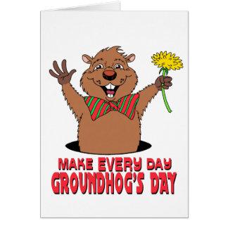 Cartoon Groundhog Card