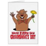 Cartoon Groundhog Greeting Card