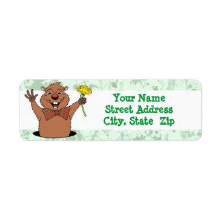 Cartoon Groundhog Label