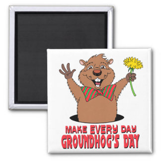 Cartoon Groundhog 2 Inch Square Magnet
