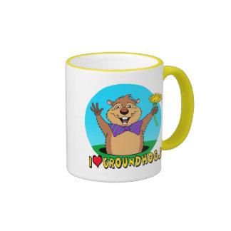 Cartoon Groundhog Ringer Coffee Mug