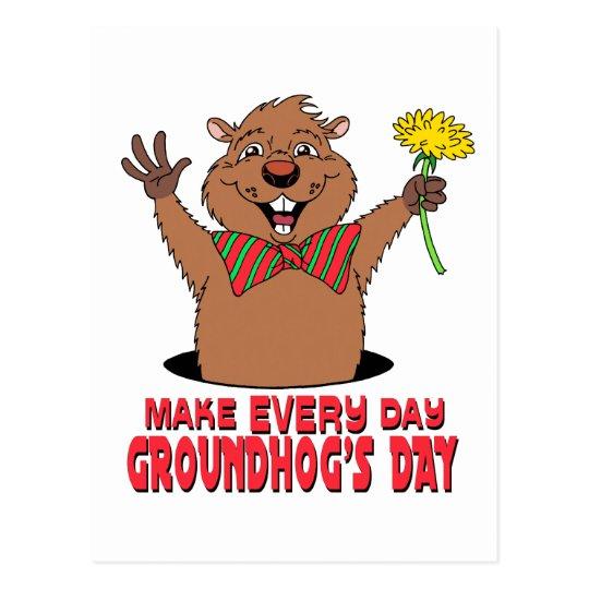 Cartoon Groundhog Postcard