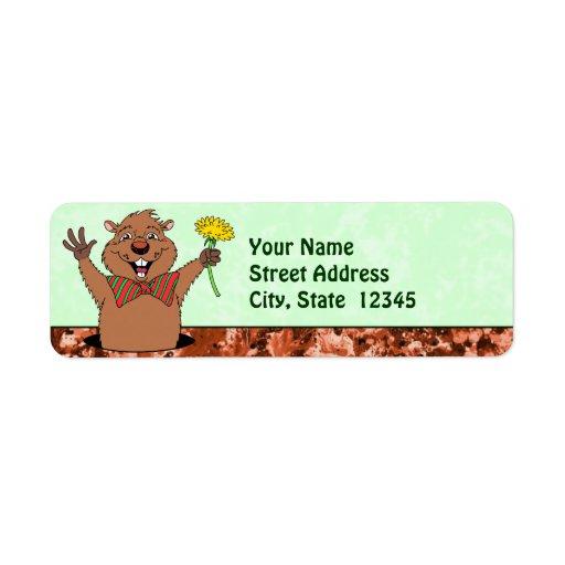 Cartoon Groundhog Return Address Label