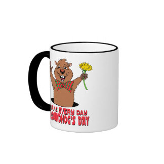 Cartoon Groundhog Ringer Mug