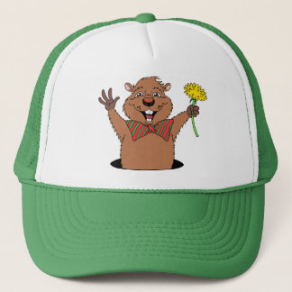 Cartoon Groundhog Trucker Hat