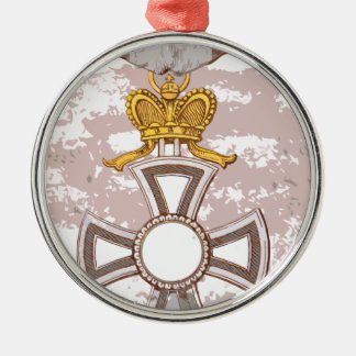 Cartoon grunge medal round metal christmas ornament