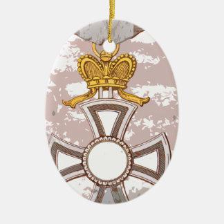 Cartoon grunge medal Double-Sided oval ceramic christmas ornament