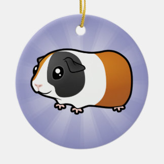 Cartoon Guinea Pig (add your own message) Double-Sided Ceramic Round Christmas Ornament