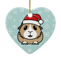 Cartoon Guinea Pig Christmas Heart Ornament