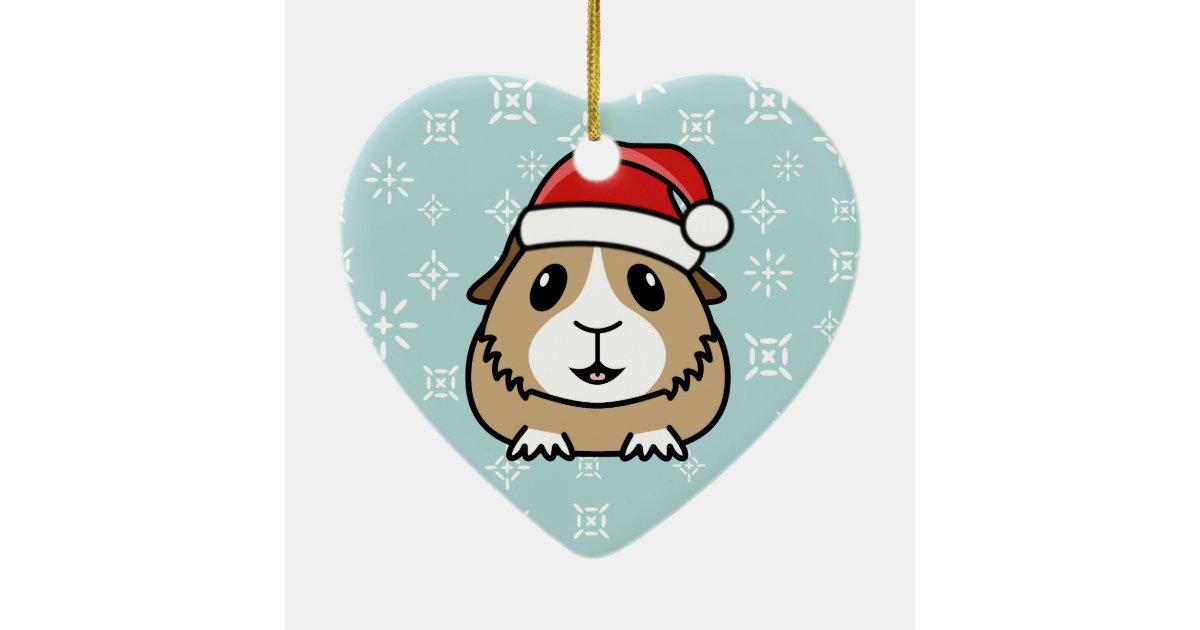 Cartoon guinea pig christmas heart ornament zazzle