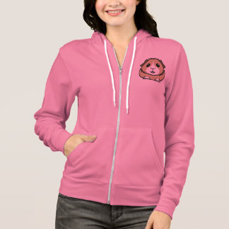 Cartoon Guinea Pig Ladies Zip Hoodie