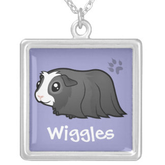 Cartoon Guinea Pig (long hair) (add pets name) Silver Plated Necklace