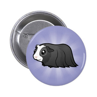 Cartoon Guinea Pig (long hair) Button
