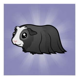 Cartoon Guinea Pig (long hair) Poster