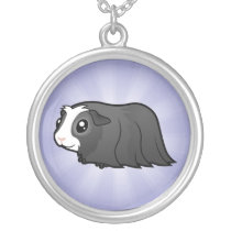 Cartoon Guinea Pig (long hair) Silver Plated Necklace