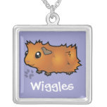Cartoon Guinea Pig (scruffy) (add your pets name) Square Pendant Necklace