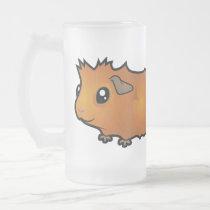 Cartoon Guinea Pig (scruffy) Frosted Glass Beer Mug
