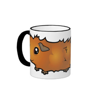 Cartoon Guinea Pig (scruffy) Ringer Coffee Mug