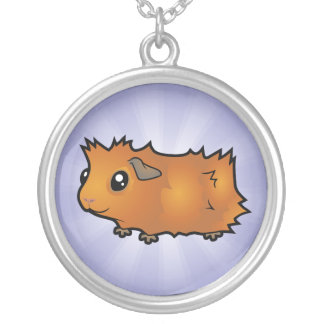 Cartoon Guinea Pig (scruffy) Silver Plated Necklace