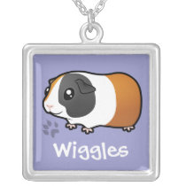 Cartoon Guinea Pig (smooth hair) (add pets name) Silver Plated Necklace