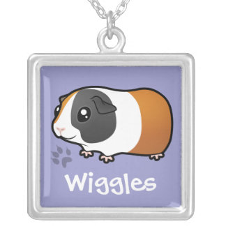 Cartoon Guinea Pig (smooth hair) (add pets name) Square Pendant Necklace
