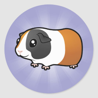 Cartoon Guinea Pig (smooth hair) Classic Round Sticker