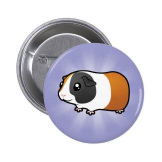 Cartoon Guinea Pig (smooth hair) Pinback Button