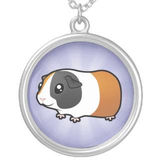 Cartoon Guinea Pig (smooth hair) Round Pendant Necklace