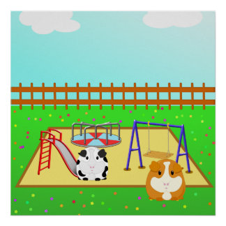 Cartoon Guinea Pigs in a Playground from $12.80 Posters