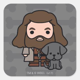 Cartoon Hagrid and Fang Character Art Square Sticker