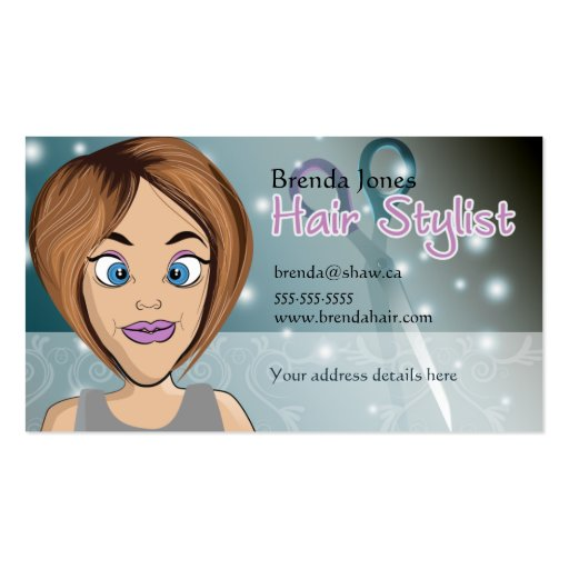 cartoon hair stylist Double-Sided standard business cards (Pack of 100)