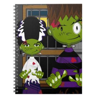 Cartoon Halloween Frankensteins Monster Note Books