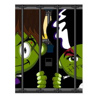 Cartoon Halloween Frankensteins Monsters Postcard