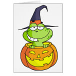 Cartoon Halloween Frog Greeting Card