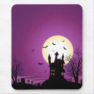 Cartoon Halloween Haunted Castle Mouse Pad