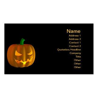 Cartoon Halloween pumpkin on black Double-Sided Standard Business Cards (Pack Of 100)