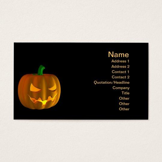Cartoon Halloween pumpkin on black Business Card