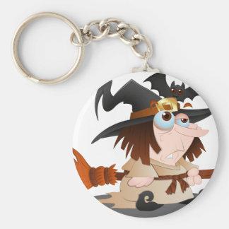 Cartoon Halloween Witch Basic Round Button Keychain