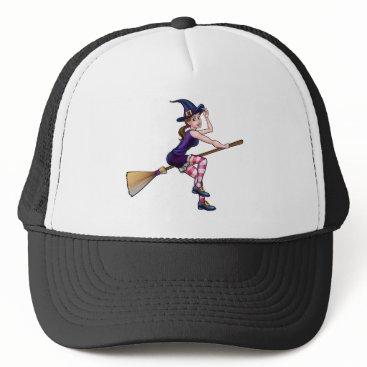 Halloween Themed Cartoon Halloween Witch On Broomstick Trucker Hat