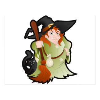 Cartoon Halloween Witch with a Cat Postcard