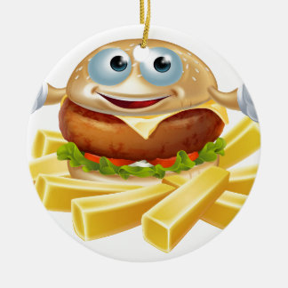 Cartoon hamburger and fries ceramic ornament