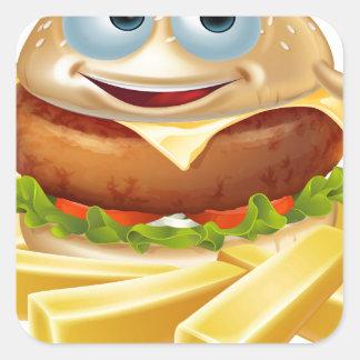 Cartoon hamburger and fries square sticker