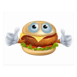 Cartoon hamburger character postcards