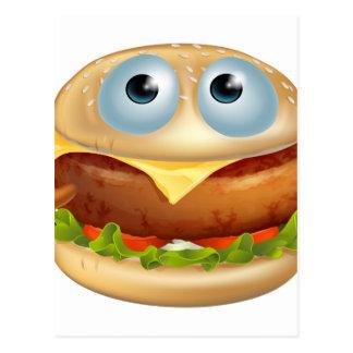 Cartoon hamburger character postcard