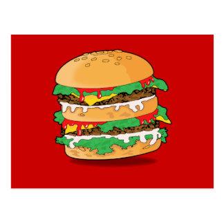 Cartoon Hamburger Postcard