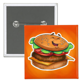 cartoon hamburger Square Button