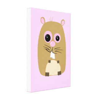 Cartoon Hamster Stretched Canvas Print