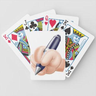 Cartoon hand and pen poker deck