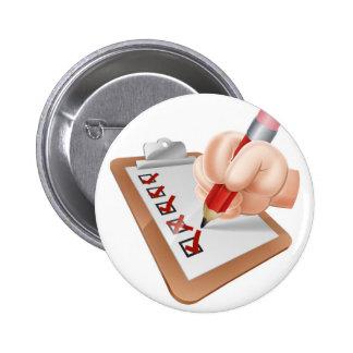 Cartoon Hand and Survey Clipboard Button