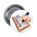 Cartoon hand completing survey badge